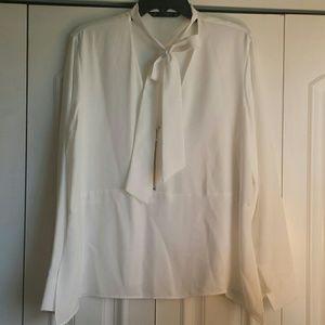 Zara Basics White tie top w/zipper